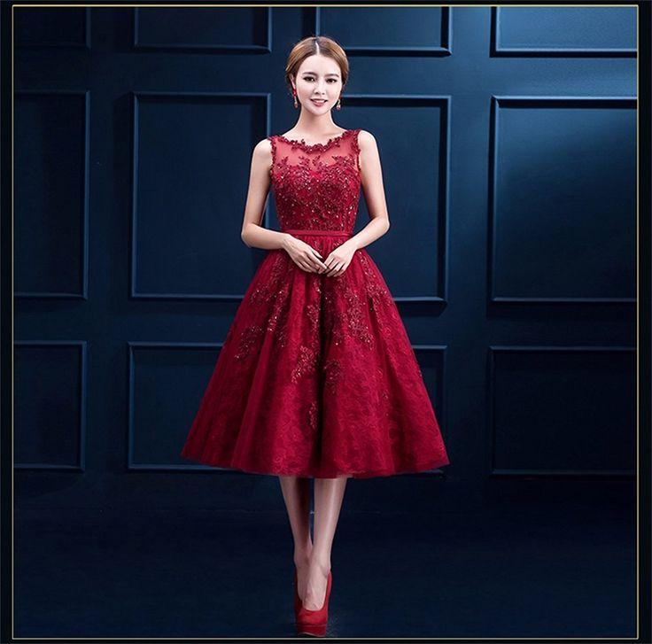 AmazonSmile: NINI.LADY Women's Lace Applique Beading Button Tea Length Homecoming Prom Dress: Clothing