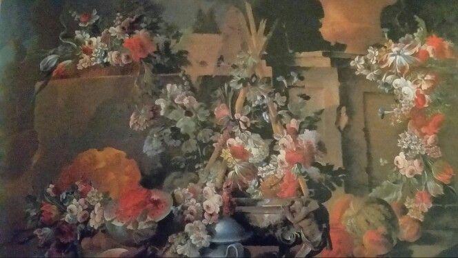MICHELE ANTONIO RAPOUS  ( Torino 1733 - 1819 ). PARCO CON CASCATE E TRIONFI DI FIORI, FRUTTA, VASI ED ARCHITETTURE DA GIARDINO. olio su tela. 192 × 268 cm.