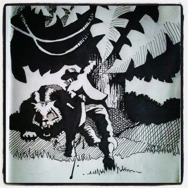 """""""Hunter hunted"""" scene & motion design, mood creation attempt: suspense. Inked sketch."""