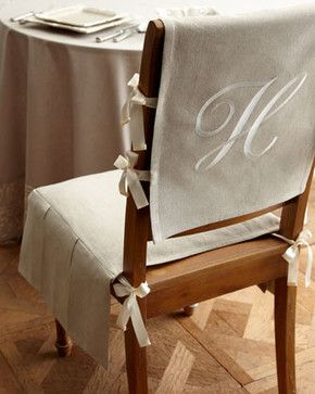 French Laundry Home Chair Pad With Monogrammed Slipcover $165.00 With this linen/cotton seat and personalized back cover, you can change the look of your dining chairs in an elegant snap. Chair dimensions: 14W x 16D x 5T. Slipcover dimensions: 24L x 14W. — classic•casual•home