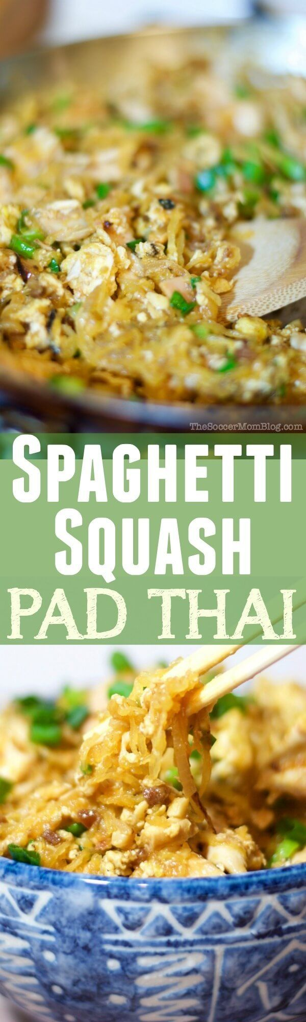 A guilt-free Spaghetti Squash Pad Thai recipe that tastes so amazing, you'd almost swear it's the real thing! (Asian Chicken Pasta)
