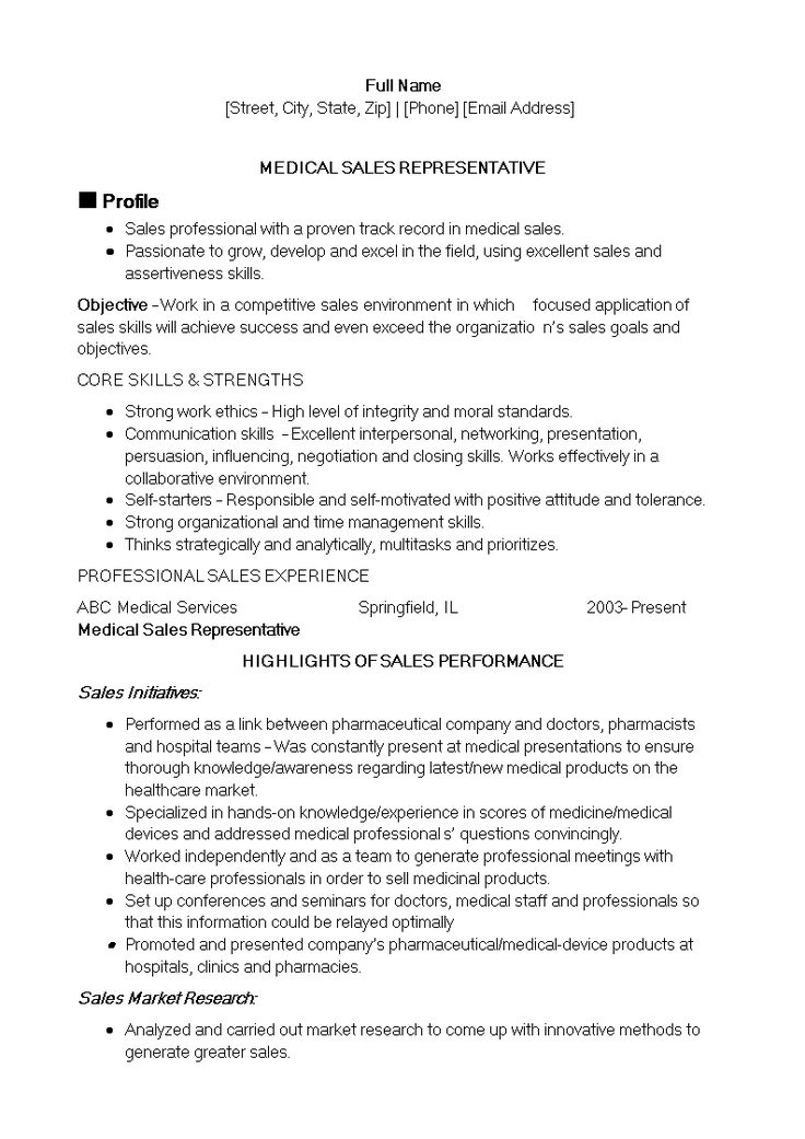 Healthcare Sales Representative Resume How to create a