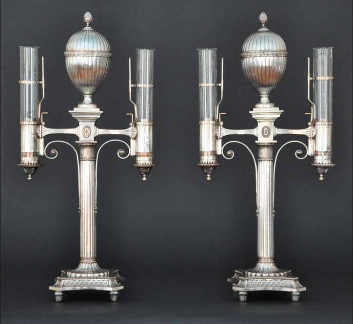 Antique Dealers Association of America - A Pair of Regency Two-Light Silver-Plated Argands