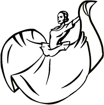 Line drawing of Mexican dancer