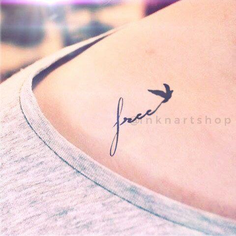 """2ST kleine """"frei"""" mit Vogel tattoo - InknArt-Tätowierung - Handgelenk Zitat-Tätowierung Körper Aufkleber gefälschte Tätowierung-Hochzeit Tätowierung kleine tattoo von InknArt auf Etsy https://www.etsy.com/de/listing/196147413/2st-kleine-frei-mit-vogel-tattoo-inknart"""