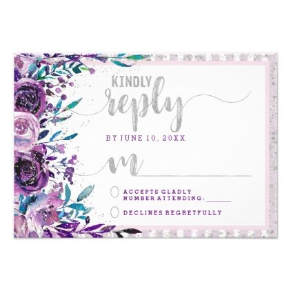 #Purple Floral & Silver Wedding Reply RSVP Card - #weddinginvitations #wedding #invitations #party #card #cards #invitation #watercolor