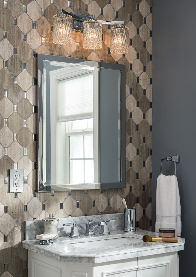 reflect your personal style in your bathroom design a rectangular polished chrome mirror adds - Tiled Bathrooms Designs