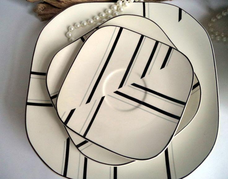 Set of 8 Vintage Sango Quadrille Jazz Dance 5110 Plates Bowls 1980s Klein Black…