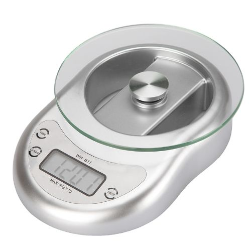 LCD Display Digital Electronic Kitchen Scale 5kg/ 1g Toughened Glass Weighing Balance with Clock Countdown Alarm Function Silver