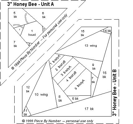 "Honey Bee Quilt Block Paper Piecing Pattern I used this one and it's fairly easy, I also turned it to put it ""on point"""