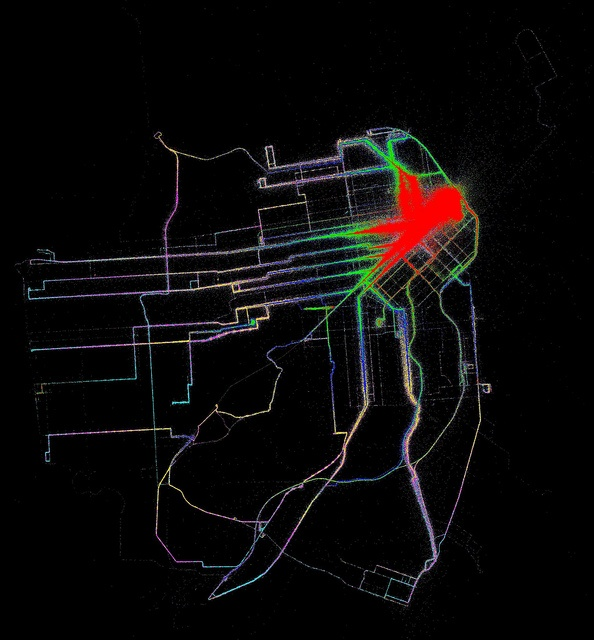 Accessibility contours from 3rd and Market by Muni (without transfers) by Eric Fischer, via Flickr