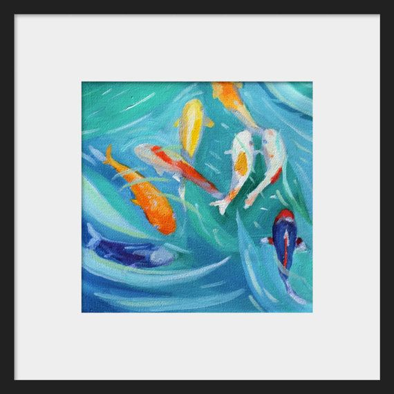 Koi tropical painting Print of original oil by clairespaintings