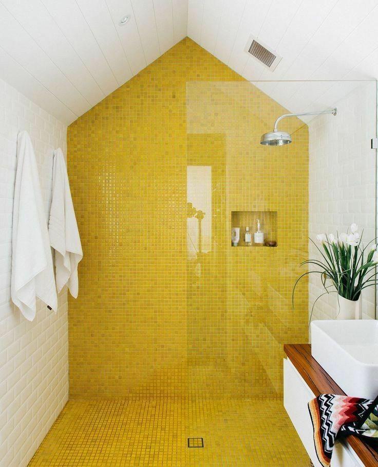 Meg S Oldfarmhouse Est 2014 Yellow Unique Design Found Via Pinterest Com Beautiful Tile Bathroom Small Bathroom Tiles Top Bathroom Design