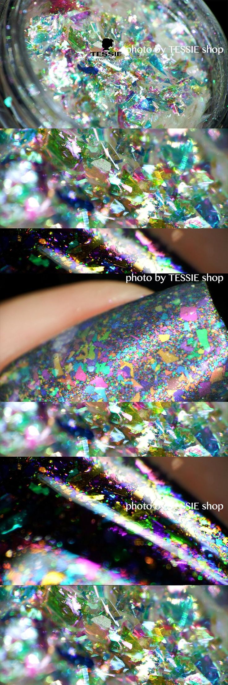 [Visit to Buy] wholesale Multi-flakes chrome nail Galaxy Holo flakes Rainbow Unicorn Skin Flakes magical shifting flakies for nails #Advertisement
