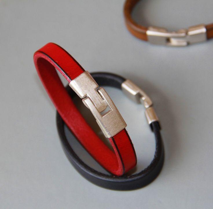 bracelet homme cuir et acier mat .Très belle qualité : Bijoux pour hommes par made-with-love-in-aiacciu
