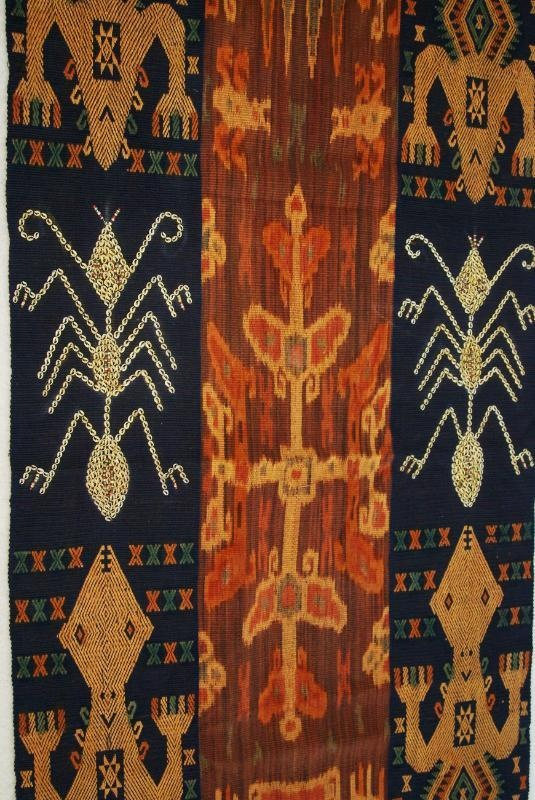 Vintage Handspun handwoven Sumba Hinggi Warp Ikat Tapestry Waeo Songket Nassa 62  $383.62