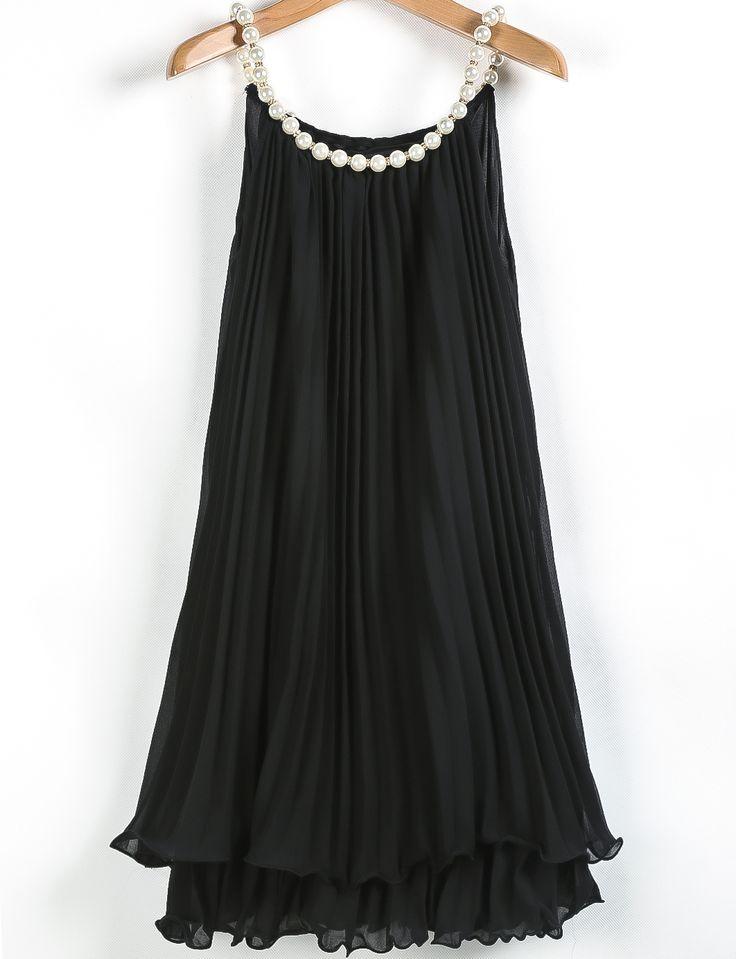 Vestido A Line gasa plisado-negro                                                                                                                                                                                 Más
