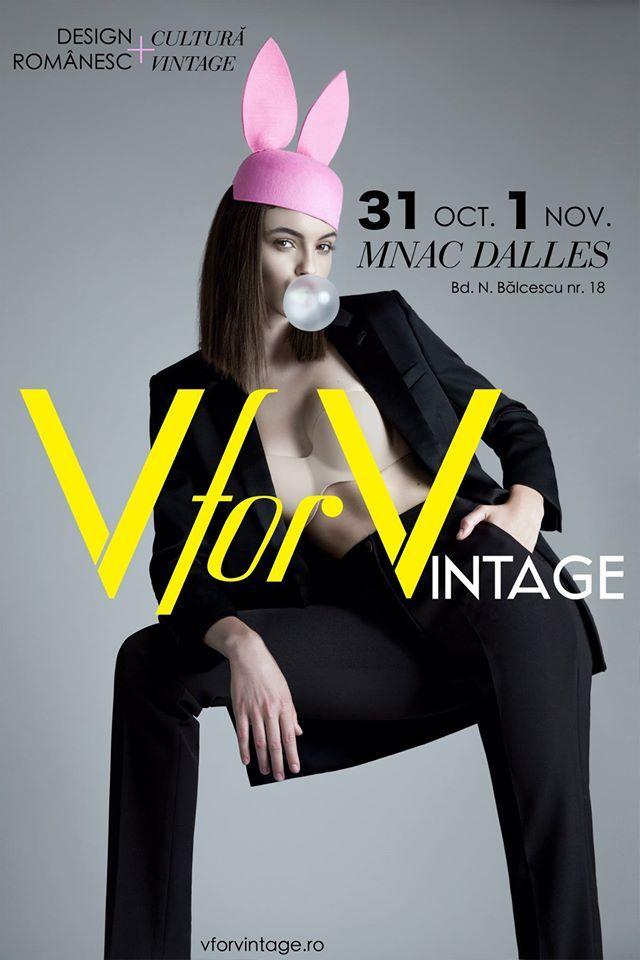 V for Vintage este comunitatea oamenilor pasionați de design, artă, experiment, simț estetic și contemporan. Este principala umbrelă online și offline ce facilitează drumul designerului către publicului lui și drumul publicului către designer #vforvintage15