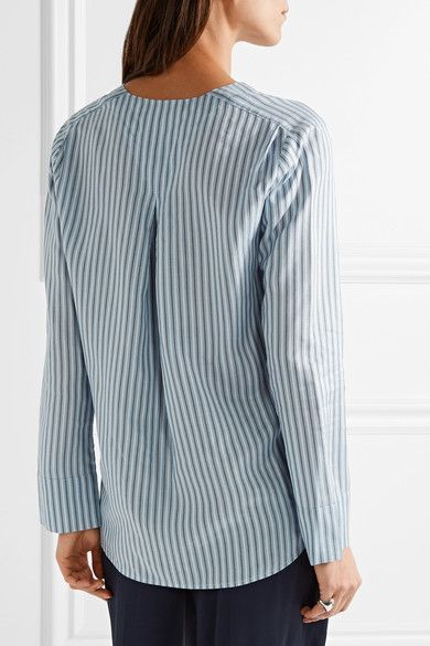 Vince - Striped Silk Shirt - Blue - medium