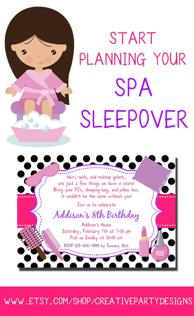 37 best nizahs party images – Spa Slumber Party Invitations