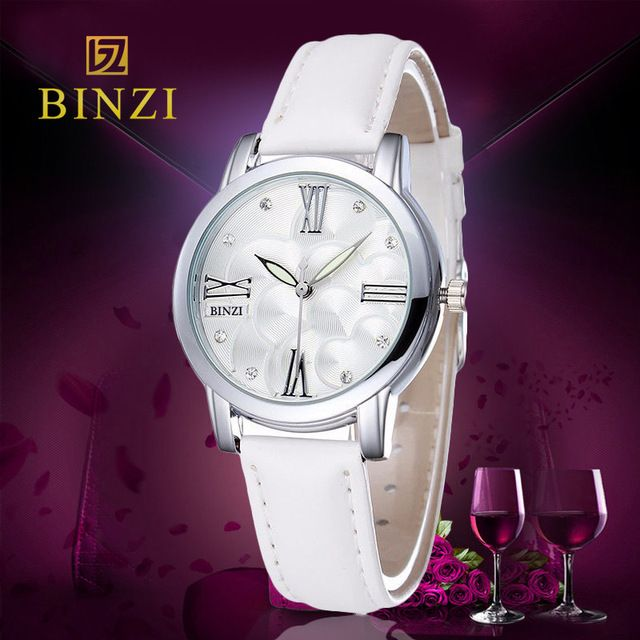 New Women's Watch Luxury Brand BINZI Female Leather clock Quartz Watch Fashion Casual Ladies Dress Wristwatches Relogio Feminino