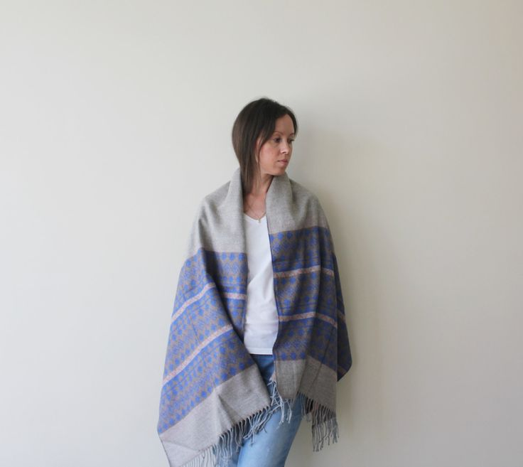 NEW! Blanket Scarf Aztec Scarf Boho Blue Tribal Scarf Women Grey Scarf Warm Scarf Women Accessories Gift Ideas For Her Christmas Gift by GaDeCreations on Etsy