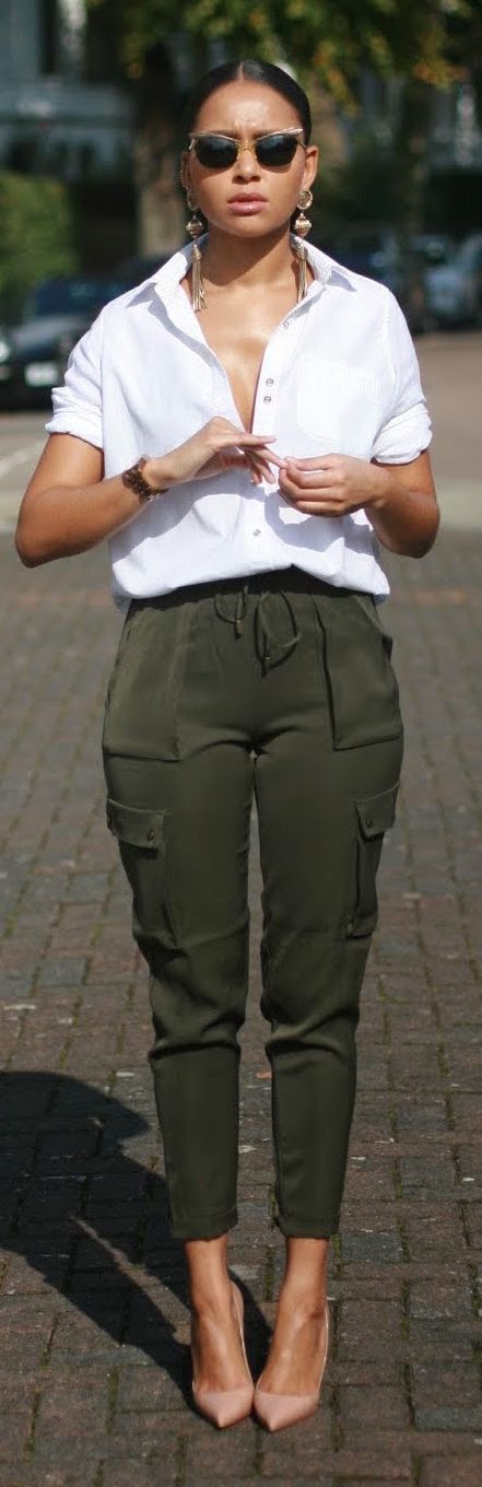 Chic Cargo Pants, white shirts. Street spring summer women fashion outfit clothing style apparel @roressclothes closet ideas