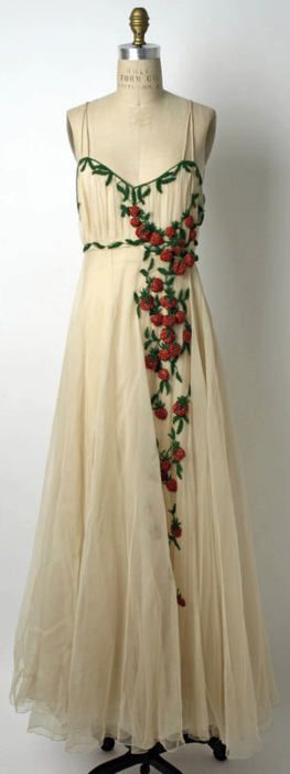 Summer evening dress covered in beaded strawberries, Bergdorf Goodman, 1942
