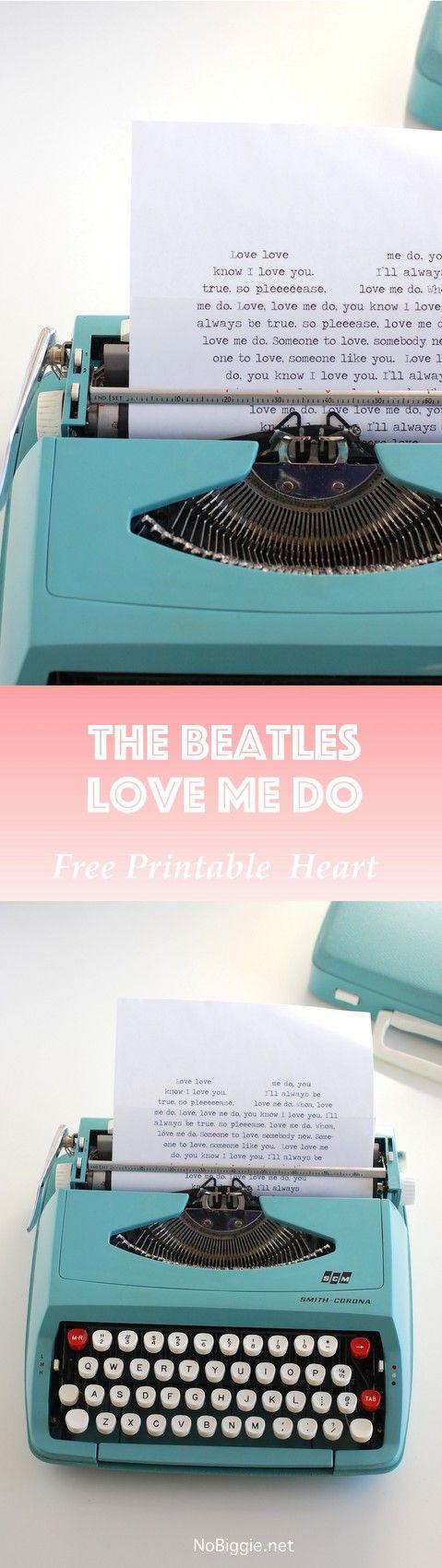The Beatles - Love Me Do in a printable heart | NoBiggie.net
