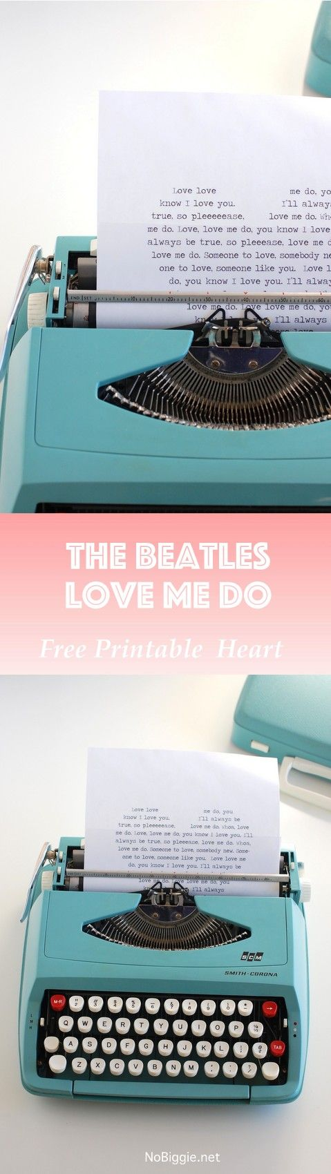 The Beatles - Love Me Do in a printable heart | NoBiggie.net
