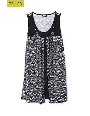 black and white printed twofer tunic