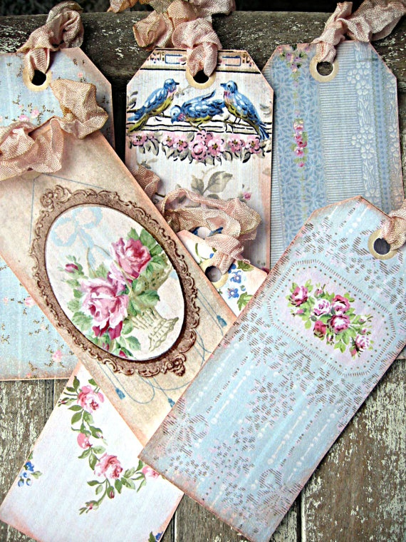 Vintage shabby wallpaper tags for gifts or by LittleBeachDesigns, $8.00