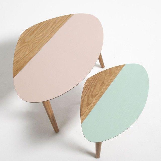Chevet gigogne bicolore Clairoy (lot de 2) La Redoute Interieurs   comme table basse, en promo 81 euros !