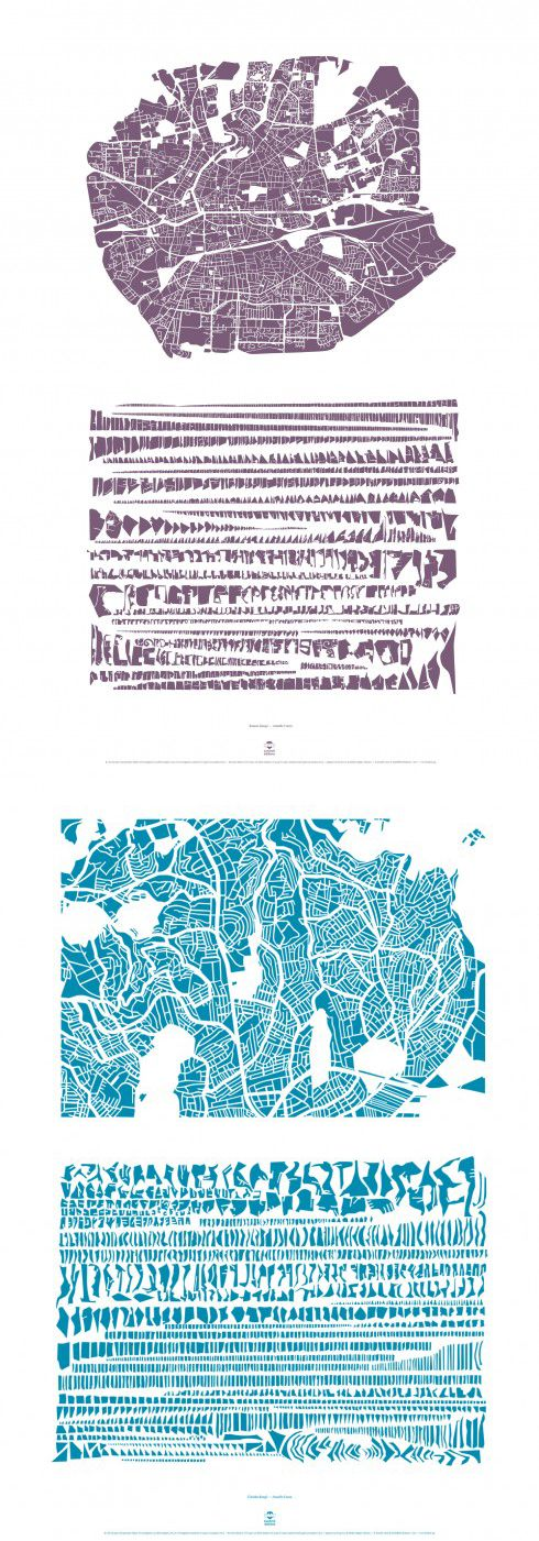 CARON, Armelle. Rennes et Üksküdar [Quartier d'Istanbul] (série Les Villes Rangées). Impressions numériques sur toile, env. 900 x 1200 mm. ©Lendroit éditions/Armelle Caron, 2012-15.