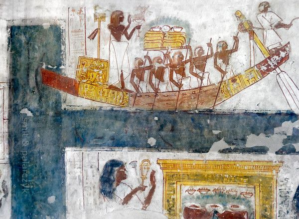 [EGYPT 29351]<br /> 'Towboat on canal in Khonsu's tomb at Luxor.'<br…