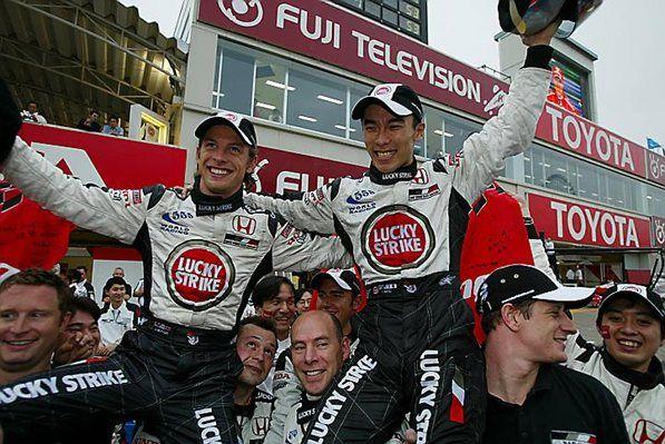 Jenson Button (GBR) BAR Honda 005 and Takuma Sato (JPN) BAR Honda 005 Formula One World Championship, Rd16, Japanese Grand Prix, Suzuka , Japan, 12 October 2003
