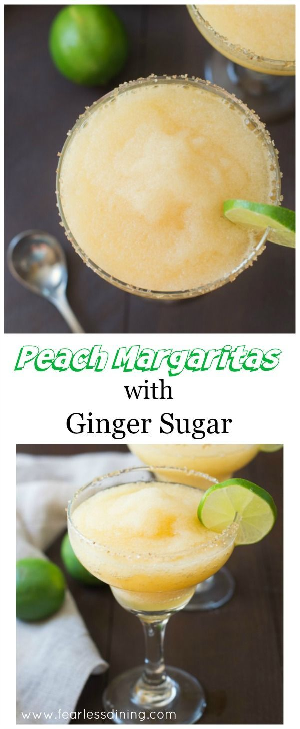 These delicious frozen peach margaritas have a special ginger sugar rim. Perfect for a party! Recipe at http://www.fearlessdining.com via /fearlessdining/