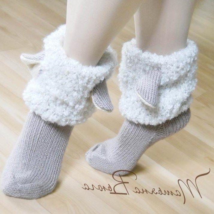 Носки шерстяные, вязаные носки, обувь для дома, домашняя обувь, сапожки вязанные, гетры высокие длинные, носки в подарок, носки мужские, женские,