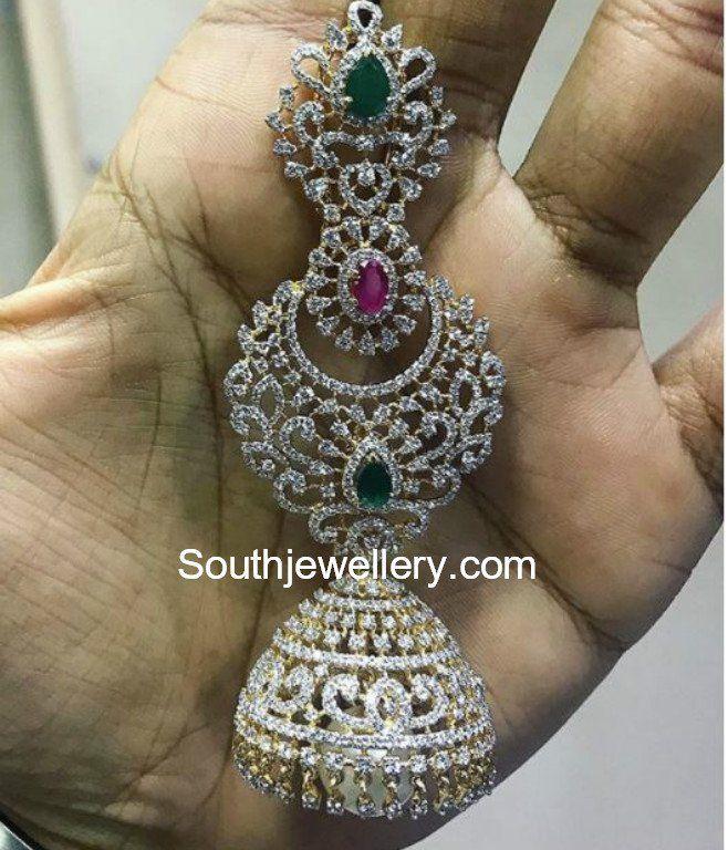 f15251d0b 18 carat gold big diamond jhumkas by P Satyanarayan and Sons Jewellers.  diamond buttalu models… | Southjewellery.com - Latest Indian Jewellery  Designs in ...