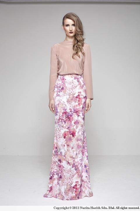 Premium- Zaharah by Nurita Harith, a Malaysian Fashion Designer. The purple floral skirt is so feminine!