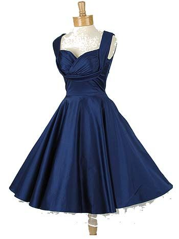 50s Style Sapphire Blue Sateen Shelf Bust Party Dress