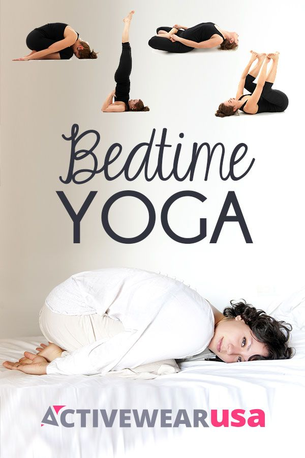 Prepare your body and mind for peaceful snoozing with these four relaxing poses you can do right before you hit the sack. #yoga