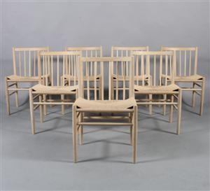 Vara: 3715074Jørgen Bækmark. Syv tremmestole af eg, model J80(7)