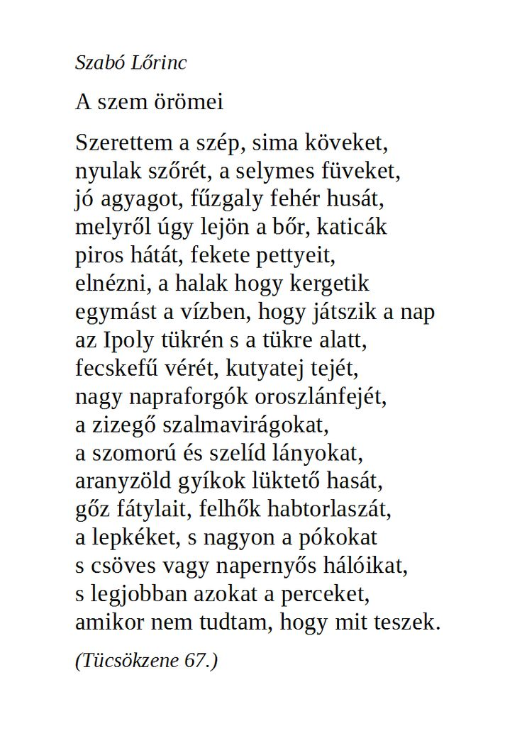Szabó Lőrinc: A szem örömei (Tücsökzene 67.)