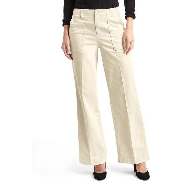 Gap Women Wide Leg Utility Pants ($48) ❤ liked on Polyvore featuring pants, off white, petite, wide leg trousers, high-waisted pants, high-waisted wide leg pants, high waisted wide leg trousers and gap pants