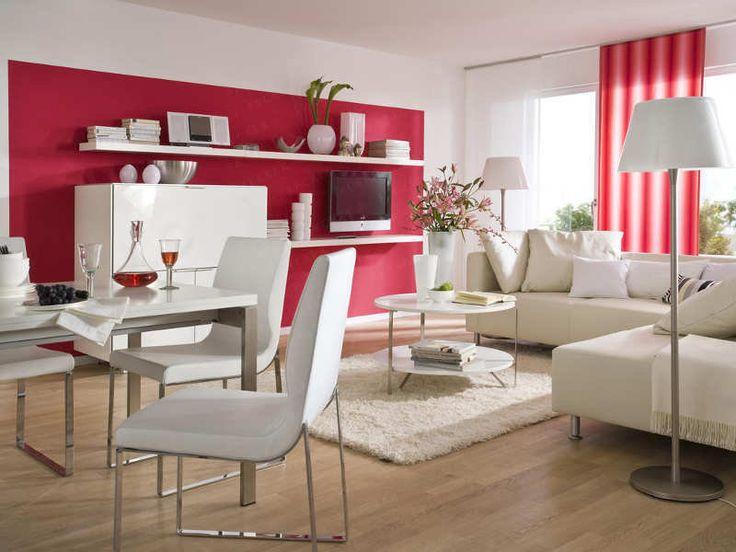 Wandgestaltung Wohnzimmer, Fenster: Mit Schiene - Rot | Wohnzimmer ... Bilder Wohnzimmer Rot