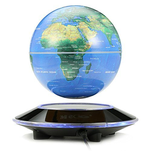 MECO 6'' Magnetic Levitation Floating Globe Rotating Illuminated World Map with Colored LED Light Anti Gravity Globe for Children Educational Gift Home Office Desk Decoration Blue -  http://www.wahmmo.com/meco-6-magnetic-levitation-floating-globe-rotating-illuminated-world-map-with-colored-led-light-anti-gravity-globe-for-children-educational-gift-home-office-desk-decoration-blue/ -  - WAHMMO