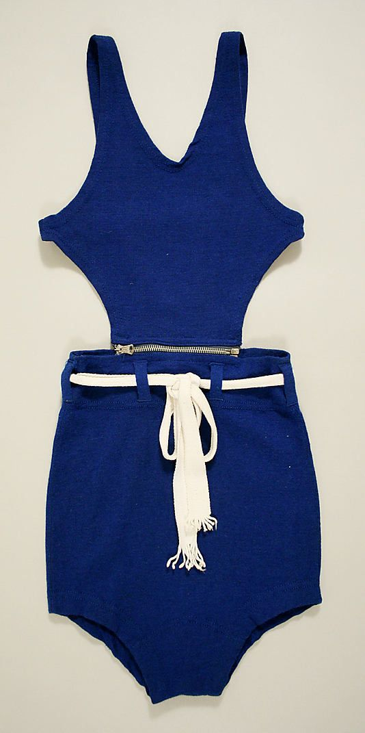 Bathing suit  Date: late 1920s (I think possibly later)  Culture: British Medium: a, b) wool, cotton, metal; c) cotton c) cotton    It's got a zip!