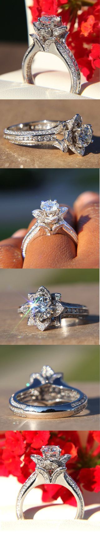UNIQUE Flower Rose Diamond Engagement or Right Hand Ring - 2.20 carat - 14K white gold - wedding - brides - fL01