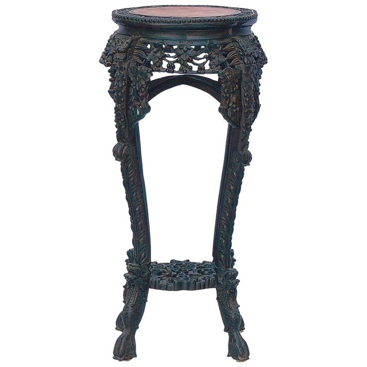 1stdibs Pedestal – Dynasty Dragon Carved Marble Jardiniere Stand Chinese Qing Wood
